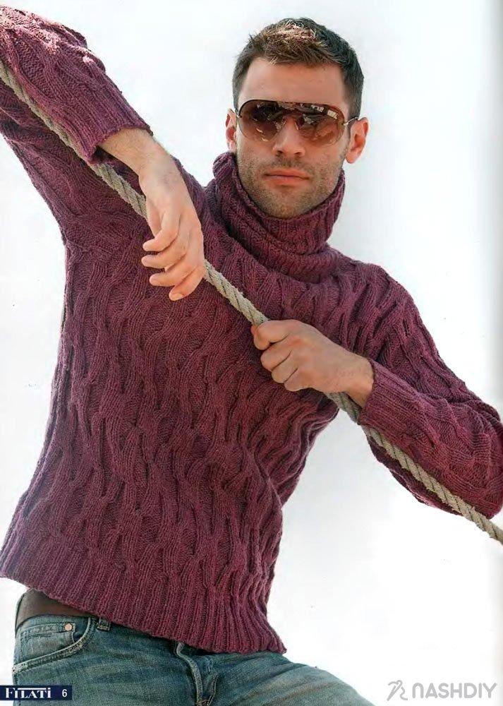 мужской свитер с горлом схема вязания спицами и описание