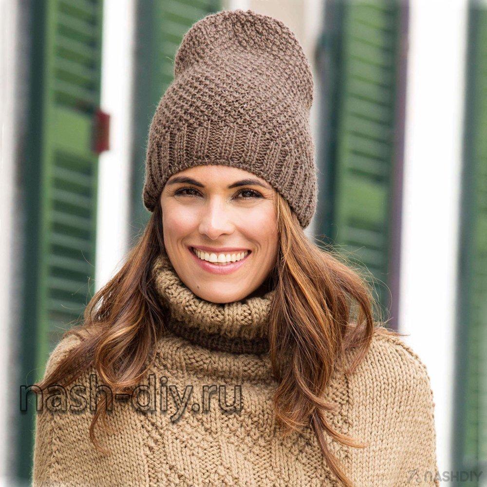коричневая вязаная шапка спицами